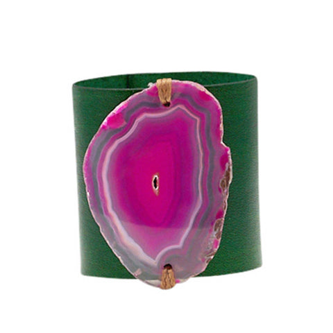 HANDCRAFTED CUFF - GREEN LEATHER BLUE PINK AGATE - 6CMGRPI