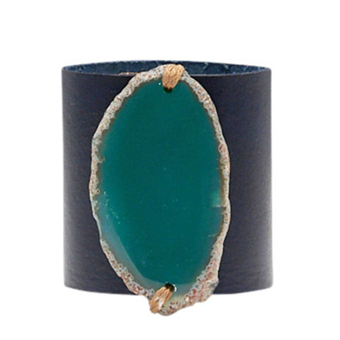 HANDCRAFTED CUFF - NAVY BLUE LEATHER GREEN AGATE - 6CMNAGR1.2