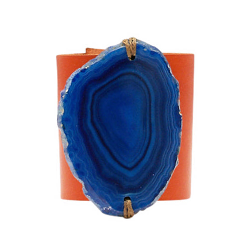 HANDCRAFTED CUFF - ORANGE LEATHER BLUE AGATE - 6CMORBL1.2