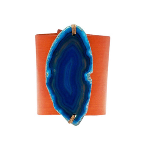 HANDCRAFTED CUFF - ORANGE LEATHER BLUE AGATE - 6CMORBL1.4