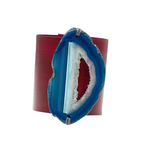 HANDCRAFTED CUFF - YELLOW LEATHER BLUE AGATE - 6CMYEBL
