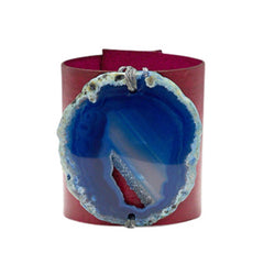 HANDCRAFTED CUFF - PINK LEATHER BLUE AGATE - 6CMPIBL1.2