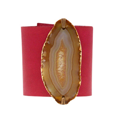 HANDCRAFTED CUFF - ORANGE LEATHER YELLOW AGATE - 6CMORYE1.1