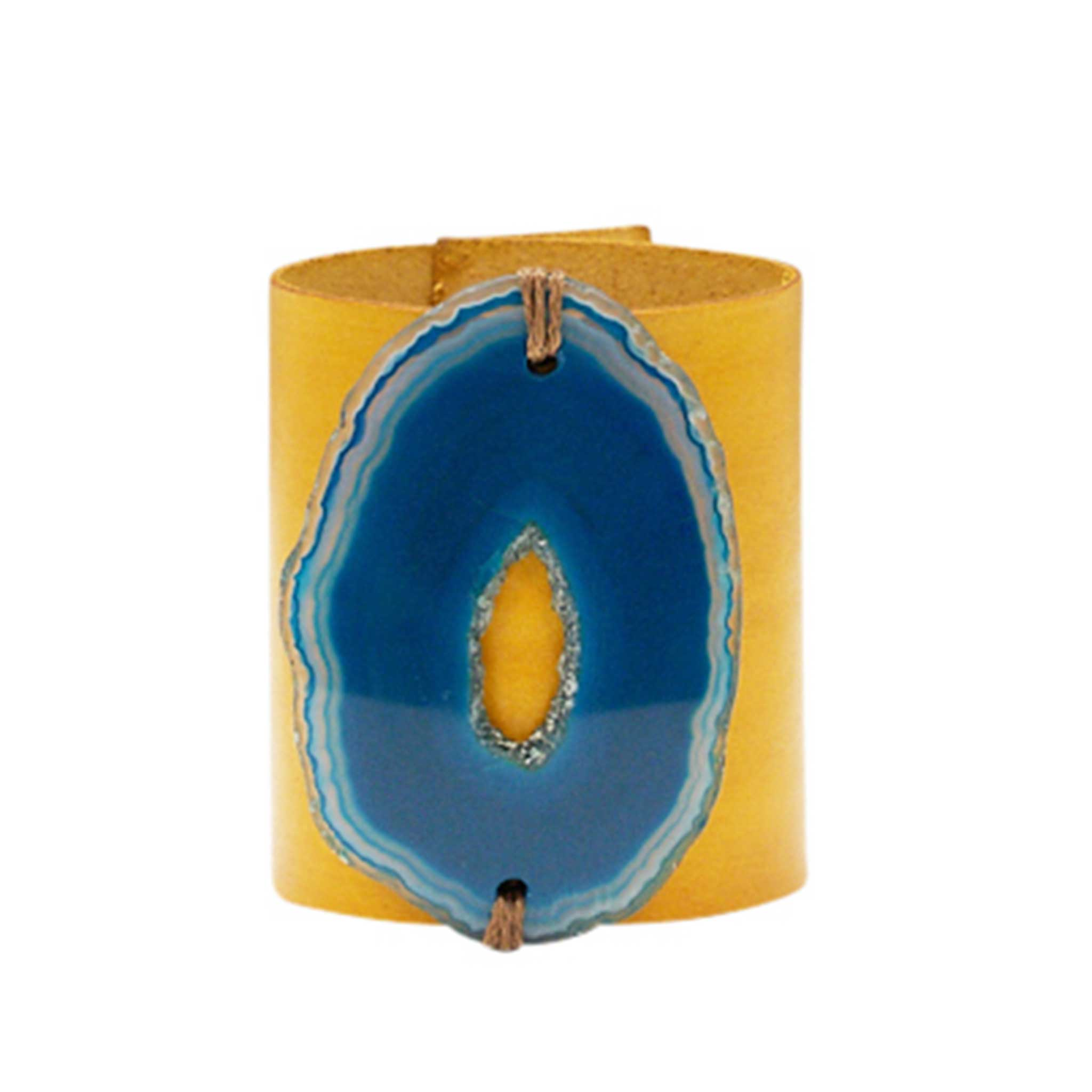HANDCRAFTED CUFF - YELLOW LEATHER BLUE AGATE - 6CMYEBL1.2