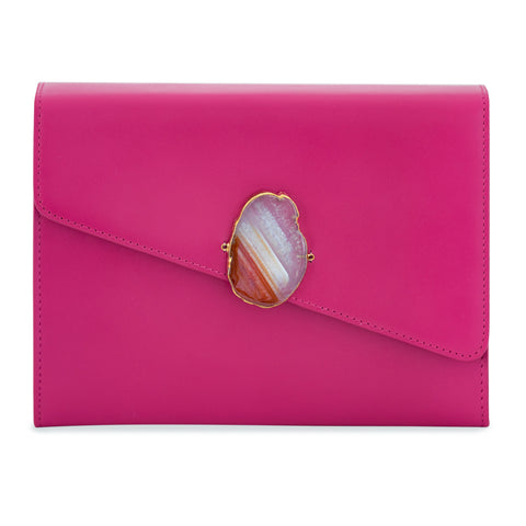 Loved Bag - Pink Ruby Leather with Green Agate