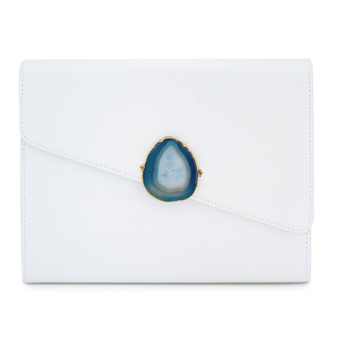 Loved Bag - Aquamarine Leather with Purple Agate