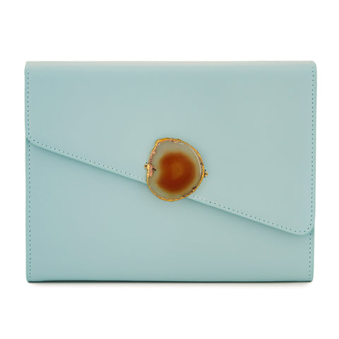 Loved Bag - Aquamarine Leather with Brown Agate