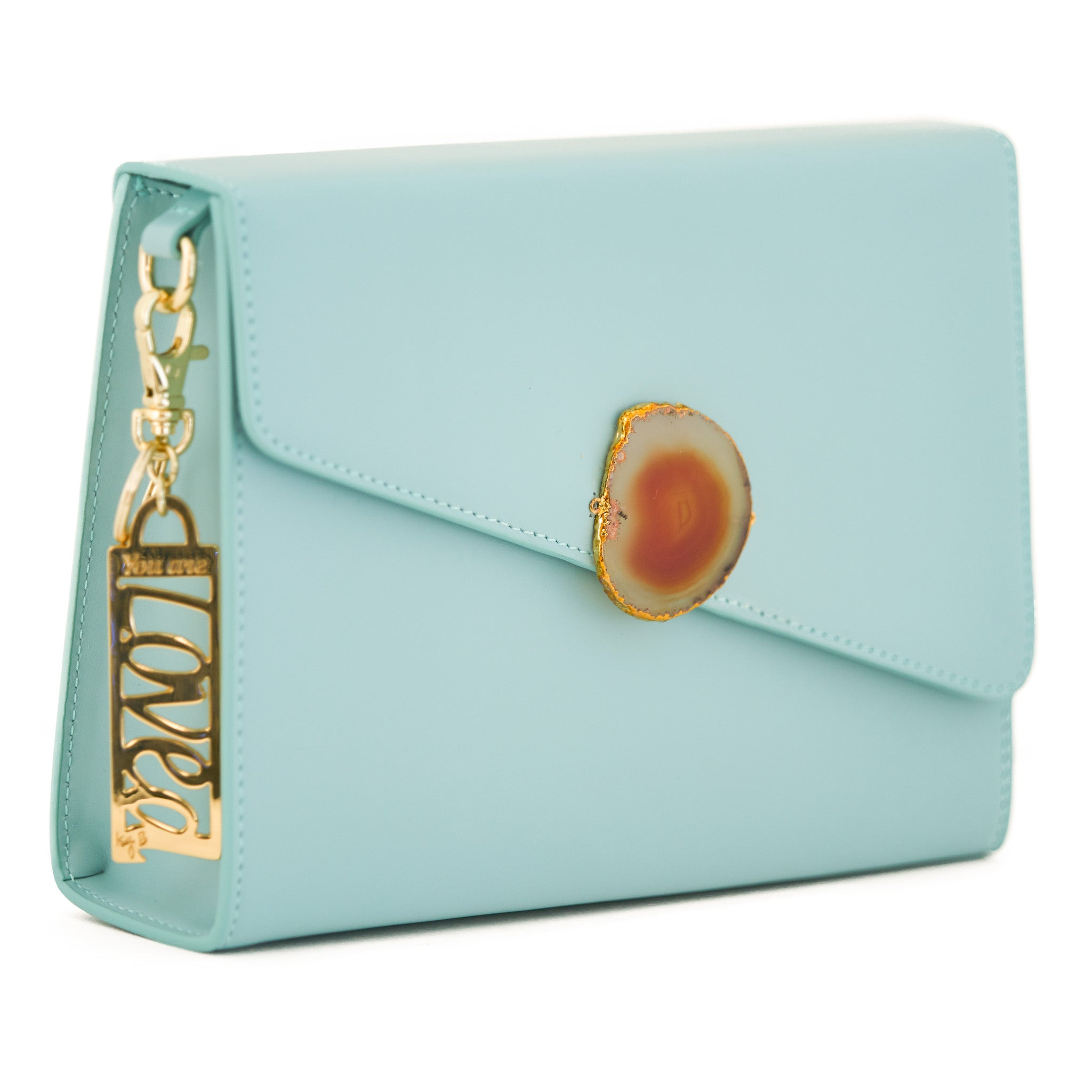Loved Bag - Aquamarine Leather with Yellow Agate