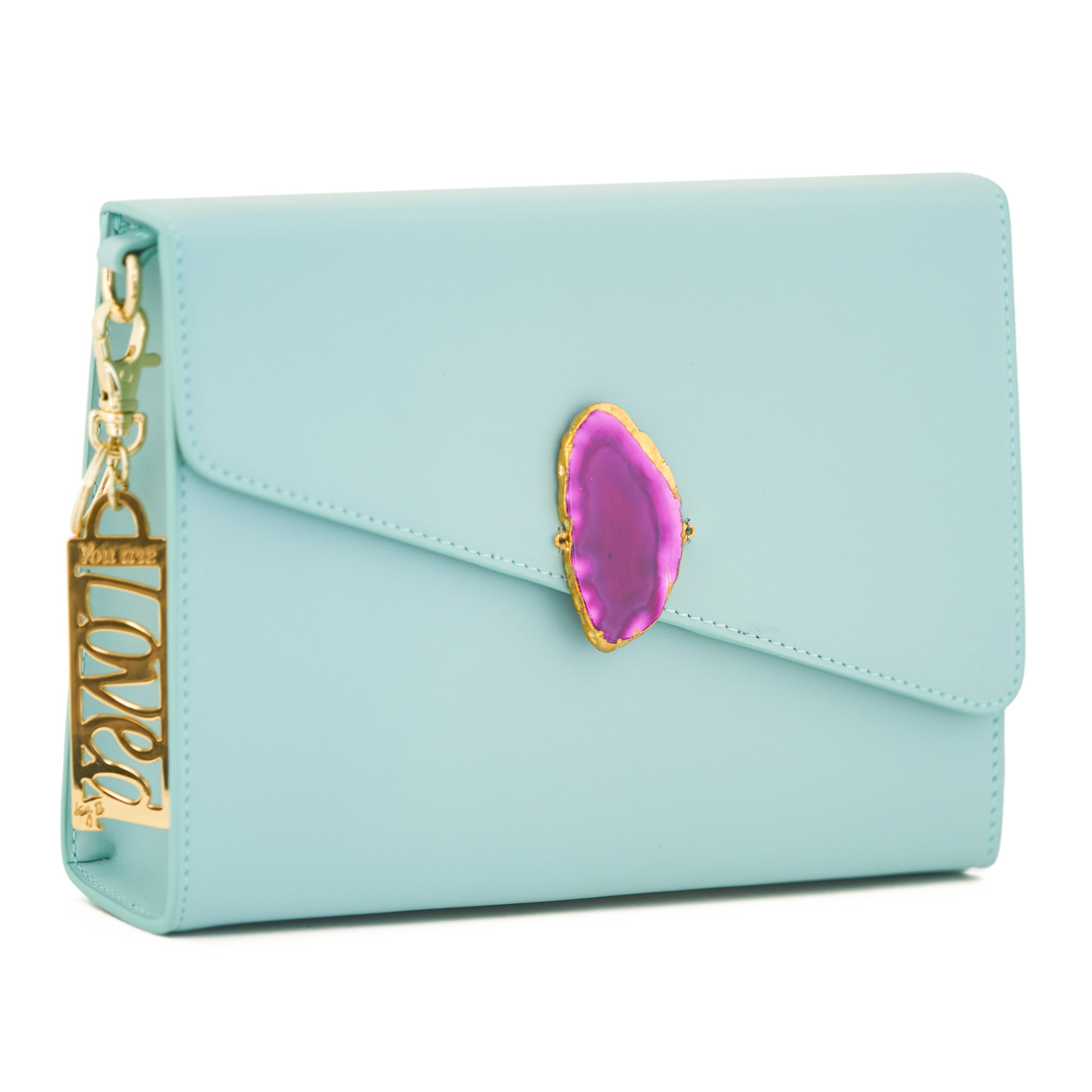 Loved Bag - Aquamarine Leather with Pink Agate