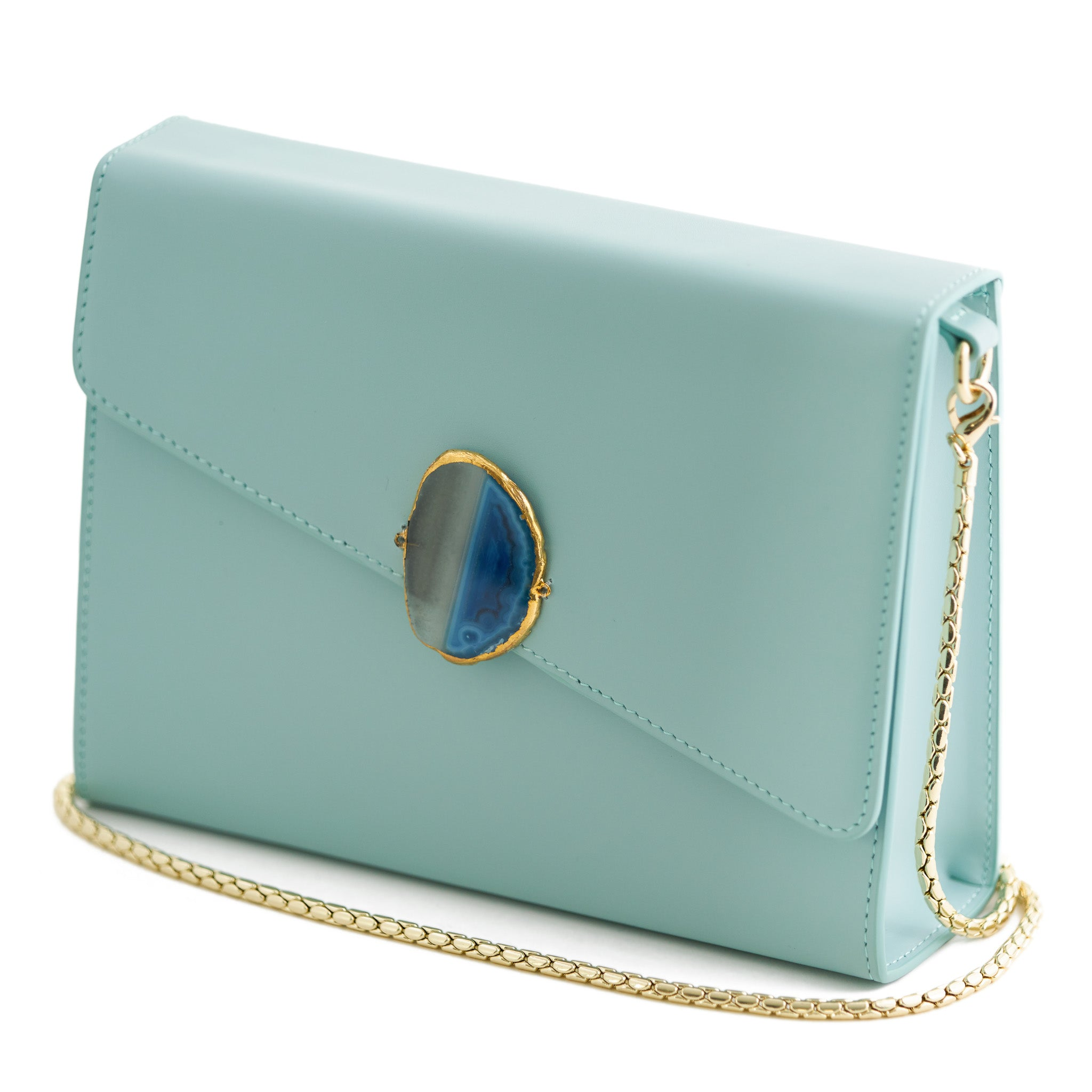 Loved Bag - Aquamarine Leather with Blue Agate