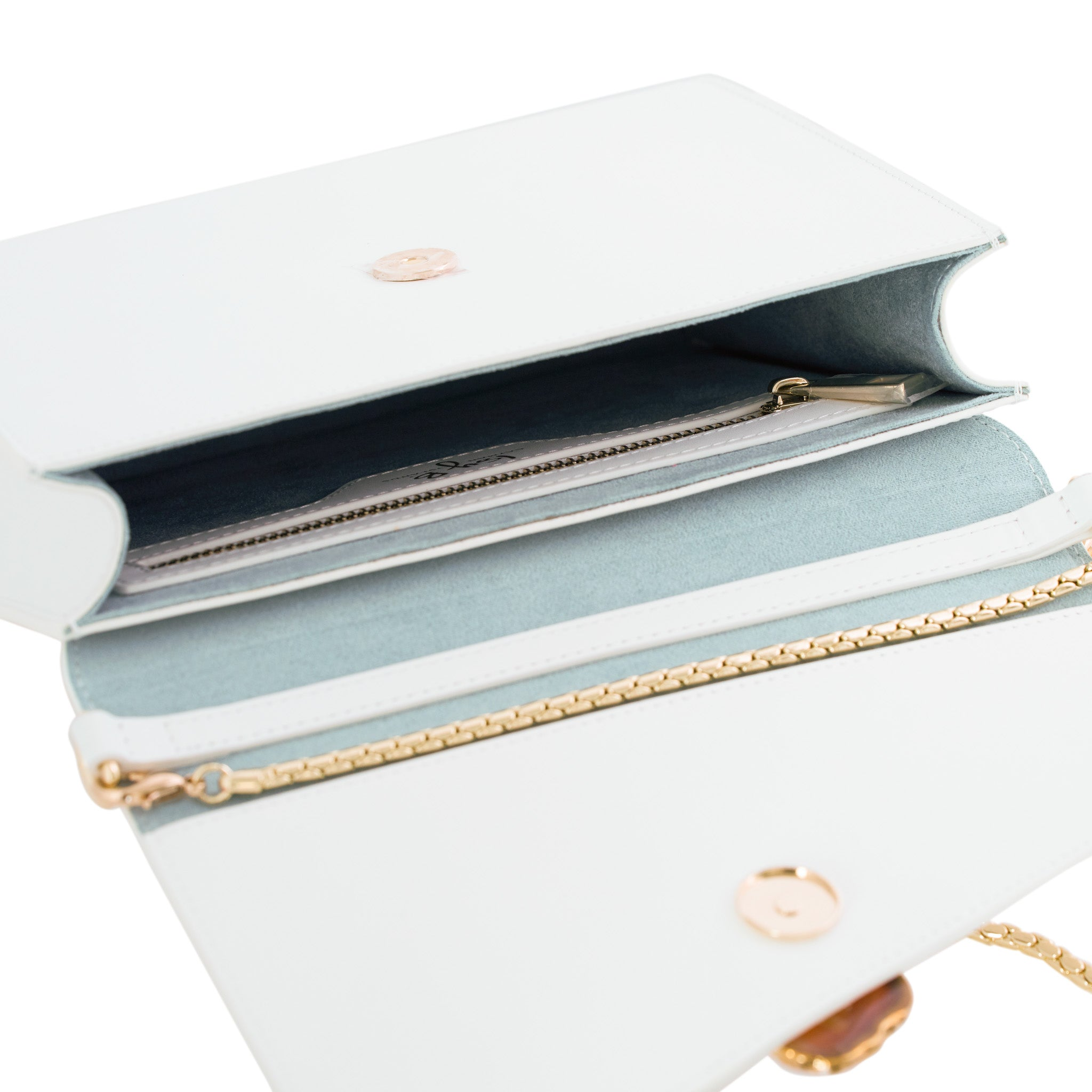 Loved Bag - Moonstone White Leather with Yellow Agate