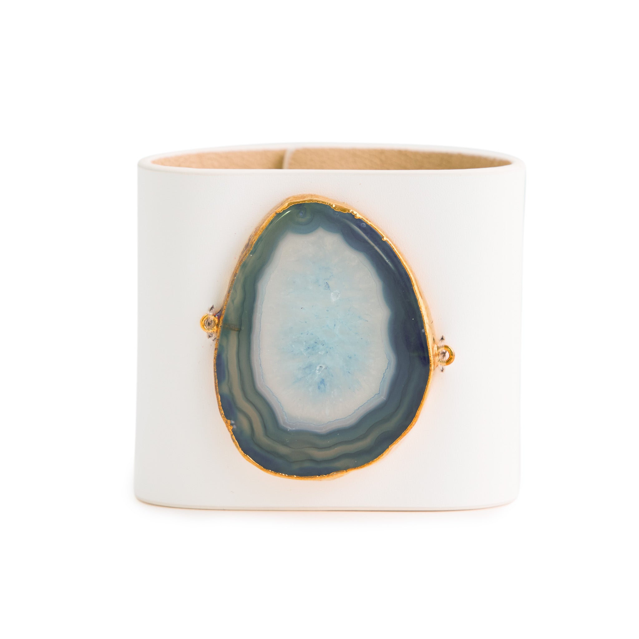 Loved Cuff - Moonstone White Leather with Green Agate