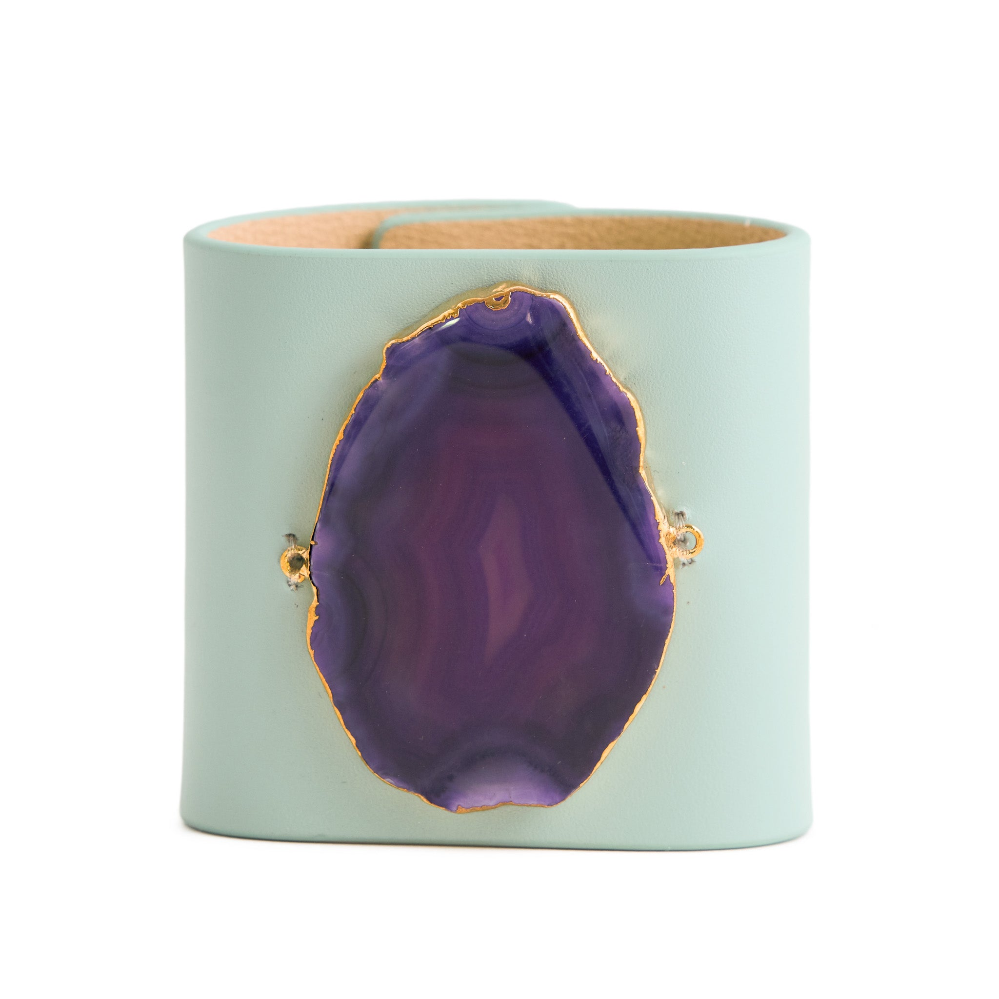 Loved Cuff - Aquamarine Leather with Purple Agate