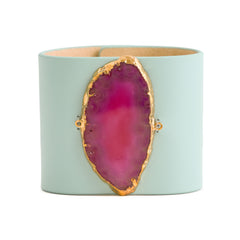 Loved Cuff - Aquamarine Leather with Pink Agate