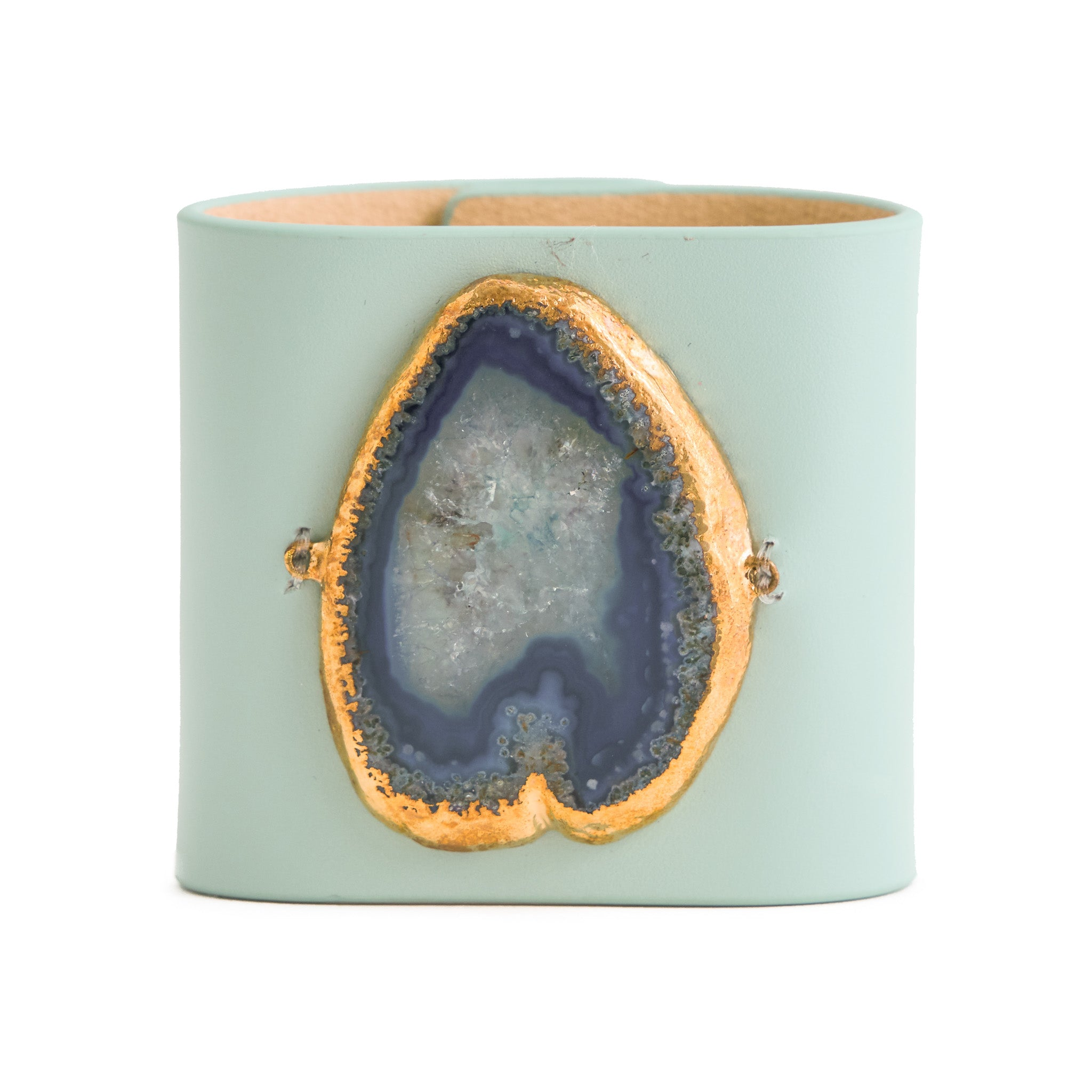 Loved Cuff - Aquamarine Leather with Blue Agate