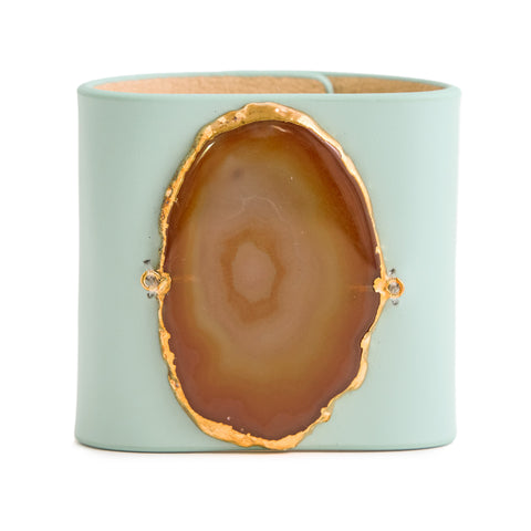 Loved Cuff - Aquamarine Leather with Brown Agate