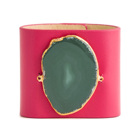 Loved Cuff - Pink Ruby Leather with Yellow Agate