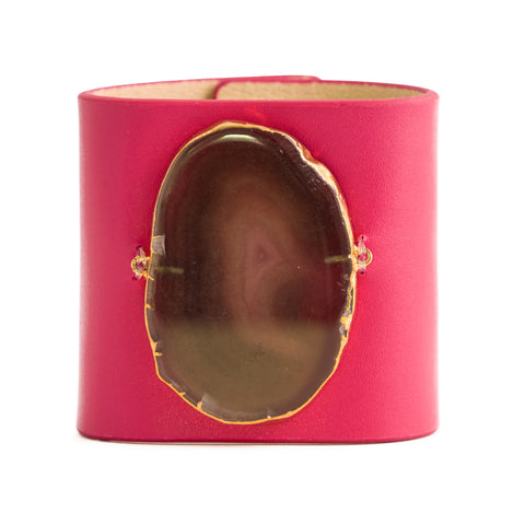 Loved Cuff - Pink Ruby Leather with Purple Agate
