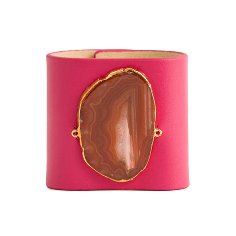 Loved Cuff - Pink Ruby Leather with Green Agate