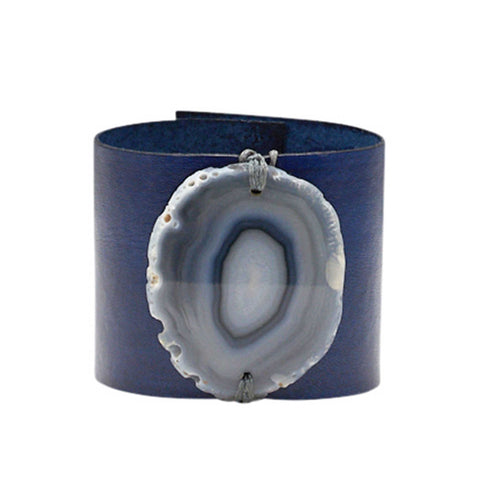 HANDCRAFTED CUFF - WHITE LEATHER WITH BLUE AGATE - 4CMWHBL1.1