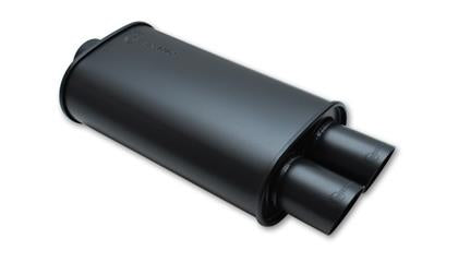 Vibrant StreetPower FLAT BLACK Oval Muffler with Dual 3in Outlets