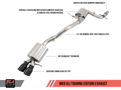 AWE Tuning Mk6 GLI 2.0T - Mk6 Jetta 1.8T Touring Edition Exhaust - Polished Silver Tips