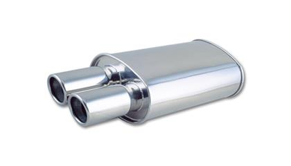 Vibrant StreetPower Oval Muffler w/ Dual 3in Round Tips Angle Cut Beveled Edge 2.5in inlet I.D.