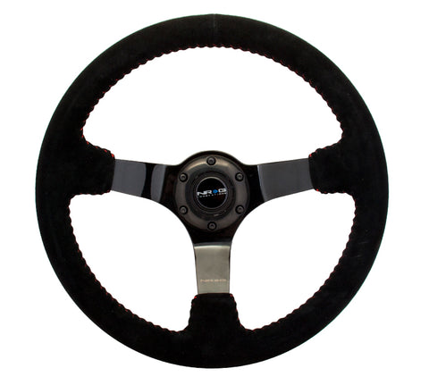 "NRG 350mm Sport Steering wheel (3"" Deep) - Black Leather w/ Red Stitching - Black Center"