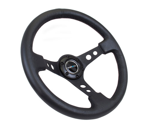 "NRG 350mm Sport Steering Wheel (3"" Deep) - Black Leather"