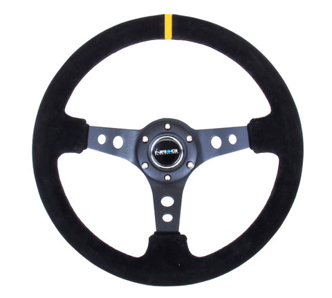 "NRG  350mm Sport Steering Wheel (3"" Deep) - Suede Black Stitch w/ Yellow Center Mark"