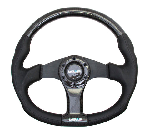 NRG CARBON FIBER STEERING WHEEL 350mm BLACK OVAL SHAPE