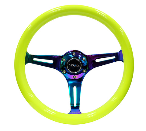 NRG Classic Wood Grain Wheel - 350mm 3 Neochrome spokes - Neon Yellow Paint