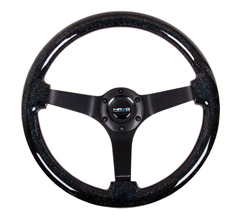 NRG Black Sparkled Wood Grain Wheel (3in Deep), 350mm, 3 spoke center in Black