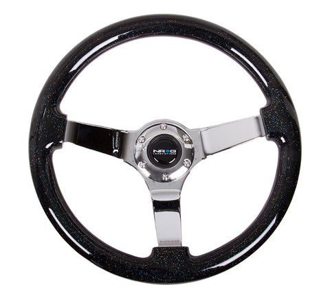 NRG Classic Wood Steering Wheel; w/ Three Spoke Center; 3in Deep Dish