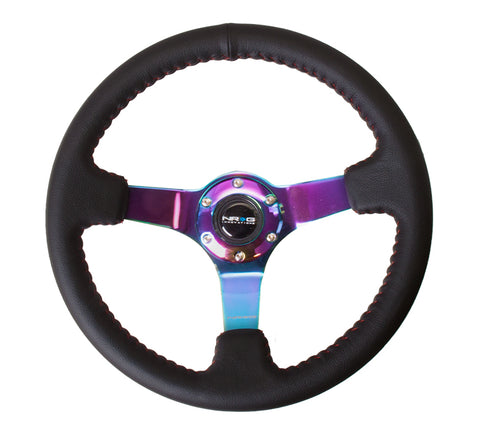 NRG  350mm Sport wheel - Black Leather, Red Baseball Stitch, Neochrome - Yellow stripe