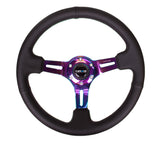 "NRG Black Leather Steering Wheel (3"" Deep), 350mm, 3 spoke center in Neochrome w/ Green Stitch"
