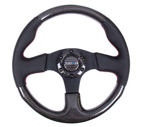 NRG  Carbon Fiber Series Steering Wheel; w/ Three Spoke Center; w/ Leather Accents
