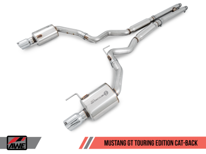 AWE Tuning S550 Mustang GT Cat-back Exhaust - Touring Edition (Chrome Silver Tips)
