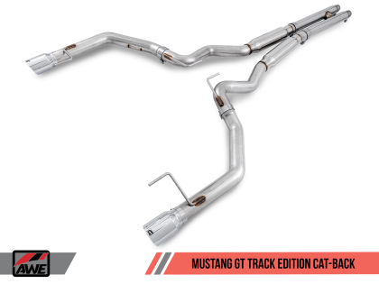 AWE Tuning S550 Mustang GT Cat-back Exhaust - Track Edition (Chrome Silver Tips)