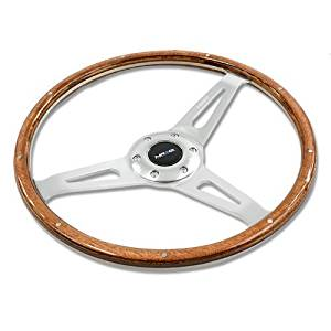 NRG Classic Wood Grain Wheel, 365mm, 3 spoke center in polished aluminum, wood with metal accents