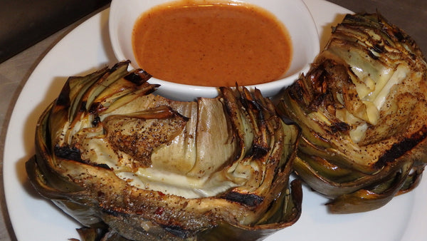 FIRE GRILLED ARTICHOKES WITH BBQ AIOLI