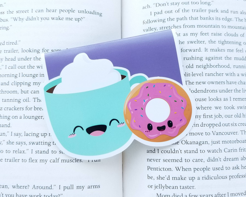 Coffee and Donut Magnetic Bookmark