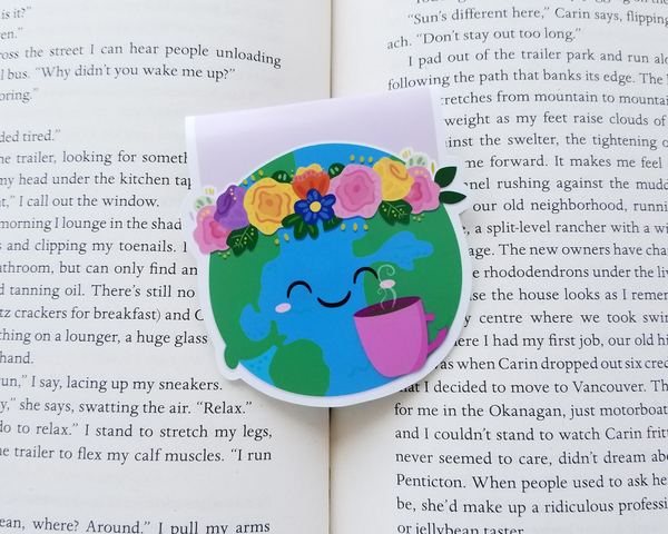 Earth & Coffee Magnetic Bookmark
