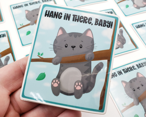 Cat Hang in There Baby Sticker