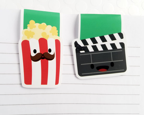 Popcorn and Movies Magnetic Bookmark Set