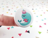 Donut Narwhal Button or Magnet