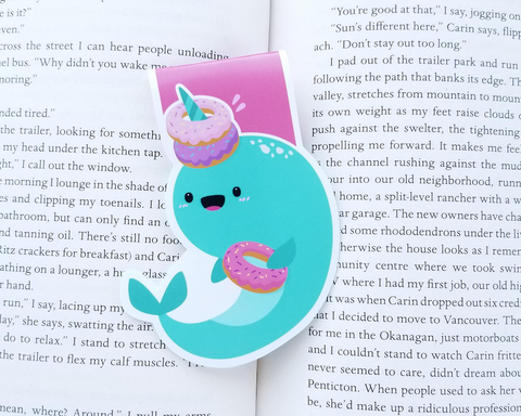 Donut Narwhal Magnetic Bookmark