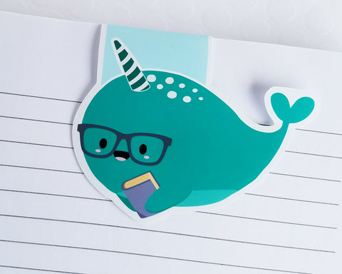 Nerdy Narwhal Teal Magnetic Bookmark