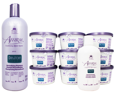 Avlon Affirm Dry and Itchy Scalp Sensitive Scalp Normalizing Shampoo & Relaxer 9 Kit