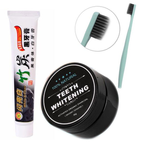 Top 3PCS Kissing Enhancer Bamboo Themed Paste with Charcoal Toothbrush Plus Teeth Brightening Bamboo Charcoal Powder